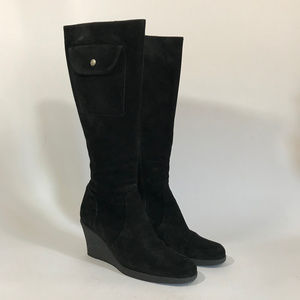 Kors Tall Suede Crepe-Sole Wedge Boot with Pocket